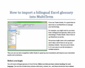 How to import a bilingual Excel glossary into MultiTerm
