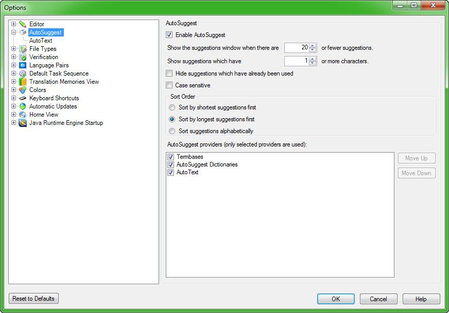 Autosuggest options in Trados Studio