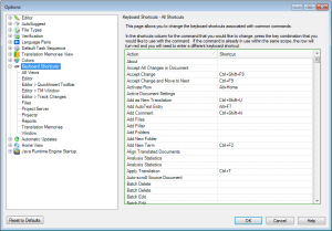 Trados Studio keyboard shortcuts