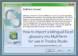 How to import a bilingual Excel glossary into MultiTerm – for use in Trados Studio