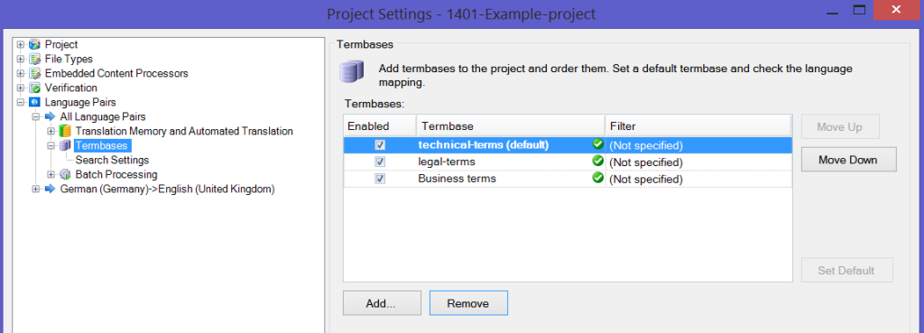 MultiTerm termbases in Trados Studio Project Settings