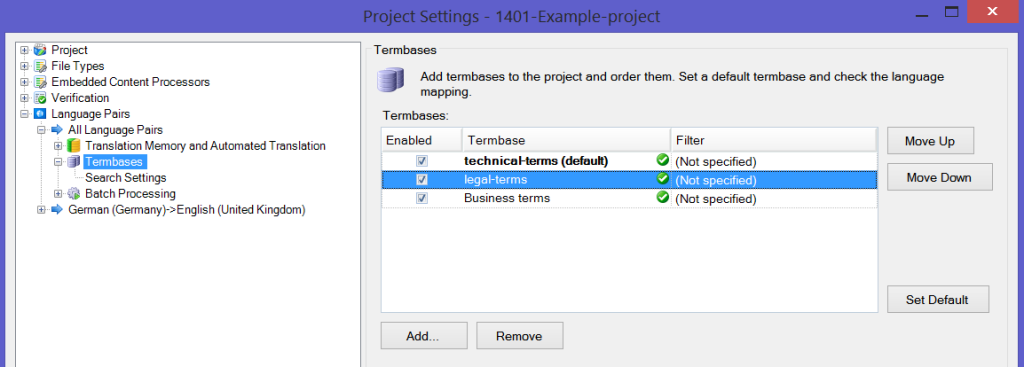 MultiTerm termbases in Trados Studio - Project Settings - change default