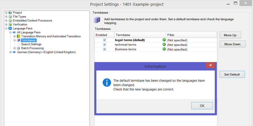 MultiTerm termbases in Trados Studio - Project Settings - default changed
