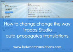How to change the way Trados Studio auto-propagates segments in your translation